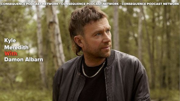 kyle meredith with damon albarn photo by Linda Brownlee gorillaz solo album The Nearer the Fountain, More Pure the Stream Flows